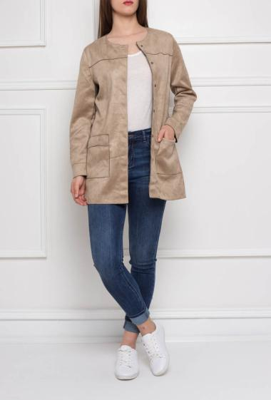 Collarless long jacket with button placket, pockets