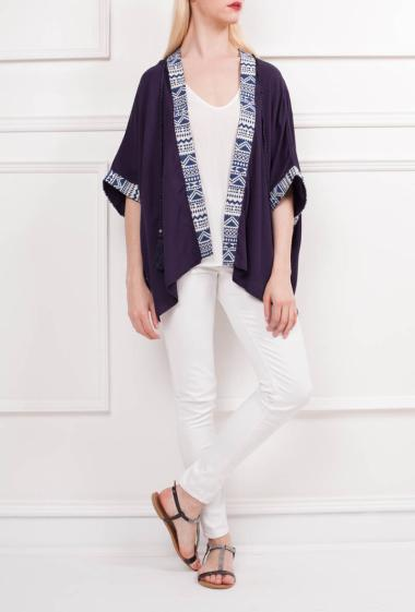 Jacket with printed trims, short sleeves