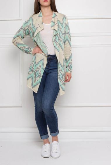 Long jacket with aztec pattern, long sleeves
