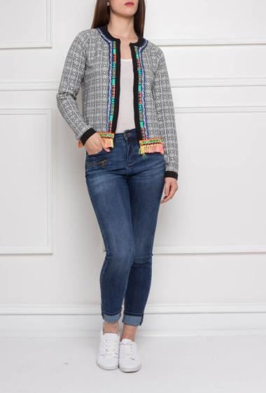 Knitted jacket with multicolour fringes