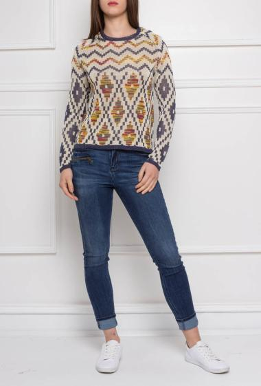 Knitted pullover with folk pattern, long sleeves