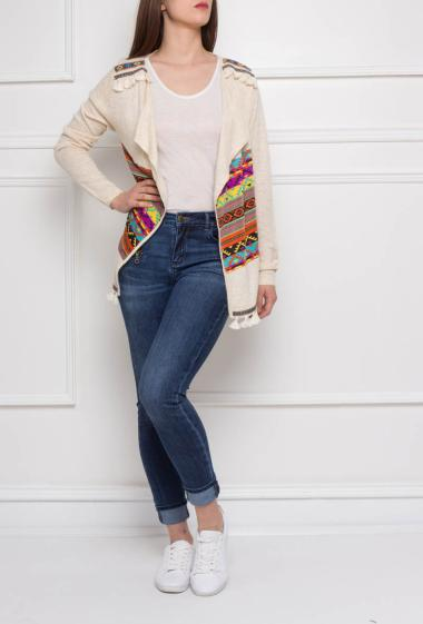 Knitted cardigan with printed band, fancy pompons