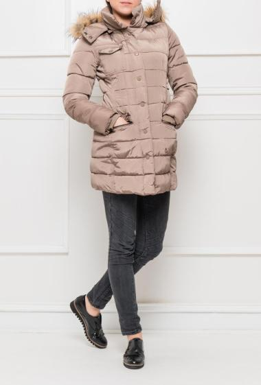 Quilted jacket with removable hood decorated with fur, zipped closure, pockets, adjusted fit