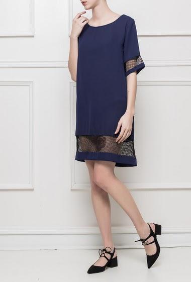 Dress with mesh yoke, zip back closure, regular fit