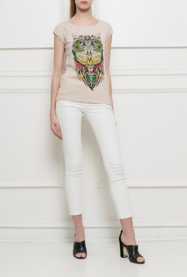 Short sleeves t-shirt with printed owl, strass, basic fit