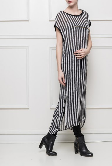 Long top or tunic with stripes, short sleeves