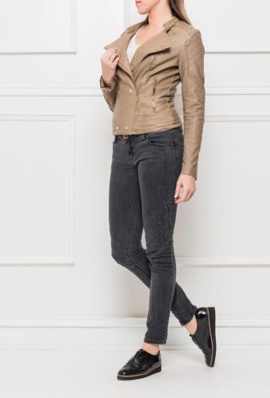 Perfecto jacket in imitation leather, zipped closure, padded elbow