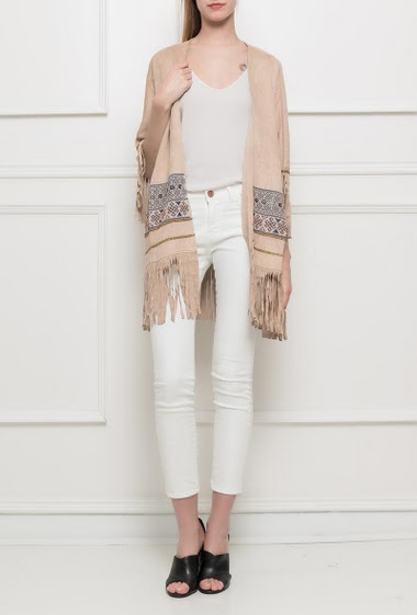 Open jacket with fringe border decorated with embroidery, 3/4 sleeves