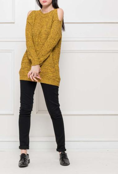 Knit pullover with cold shoulders