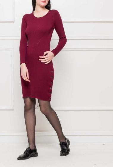 Ribbed knit dress, buttons on the sides, close fit