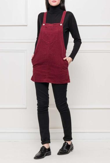 Top or short dress in ribbed velvet, pockets