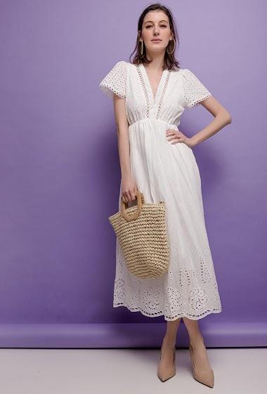Embroidered and perforated dress