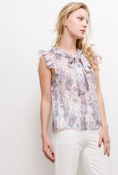 Frill sleeveless top, knot collar, semi transparent fabric. The model measures 170cm and wears S/M. Length:60cm