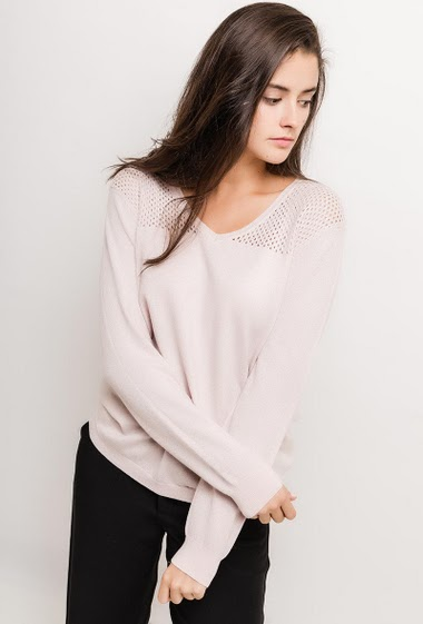 Sweater with lurex, openworked detail. The model measures 172cm, one size corresponds to 10/12(UK) 38/40(FR). Length:65cm
