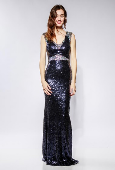 Tshiny long dress, border decorated with strass. he model measures 177cm and wears S
