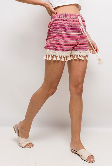 Striped shorts with tassels