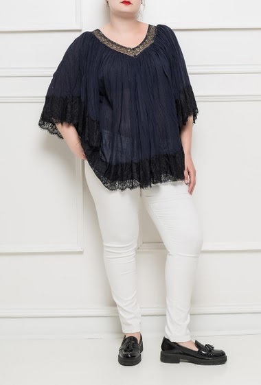 Bouse with V neck, border decorated with refined lace, 3/4 sleeves - TU corresponds to T42/46