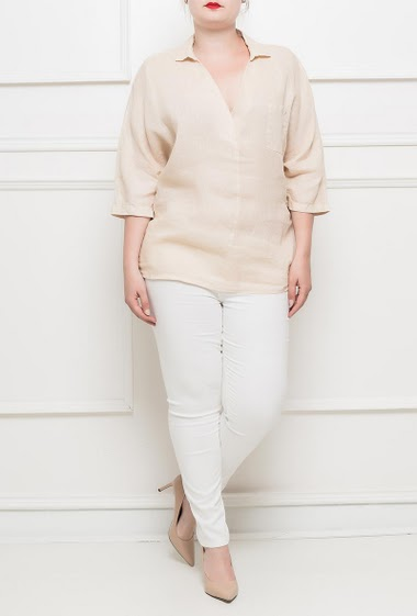 Linen shirt, V neck, 3/4 sleeves, patch pocket - TU corresponds to T42/46
