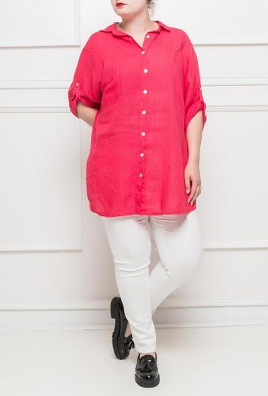 Short sleeves shirt, side slits - TU corresponds to T42/44