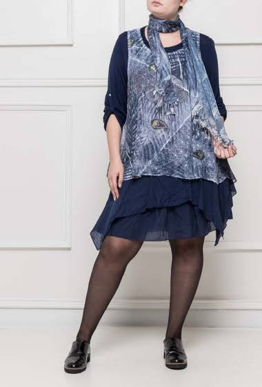 Ruffled dress with strass, printed yoke, flared fit, sold with a matching scarf