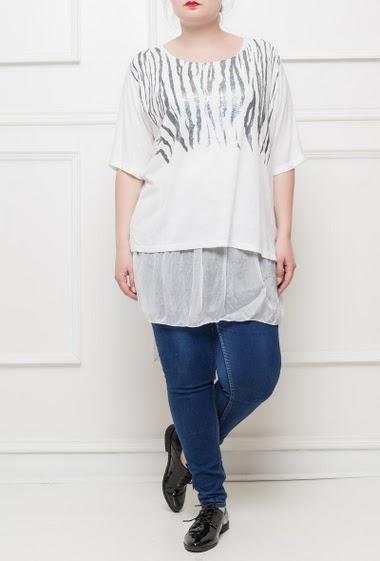 Tunique en maille fine avec motif zèbre imprimé et brillant, bordure en voile transparent