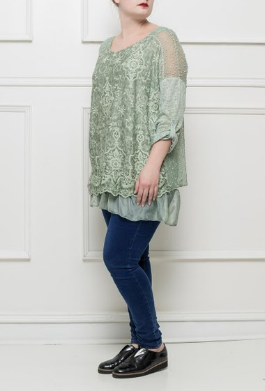Tunic with embroideries, roll-up sleeves, lace panel, round collar, ruffle border in lightweight woven fabric