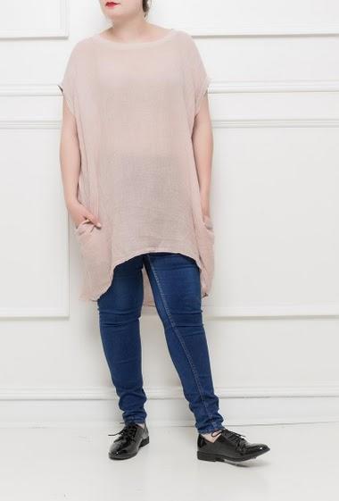 Tunique en lin à manches courtes, poches, dos avec empiècement en jersey, coupe ample