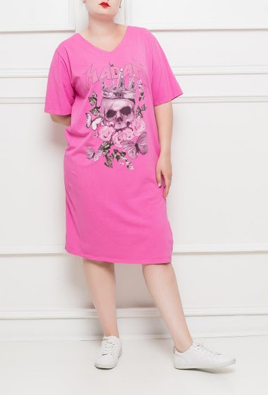 Tunic with printed skull, short sleeves, casual fit - TU corresponds to T42/46