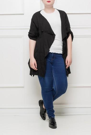 Veste à manches retroussables, poches, ouverte sur le devant, coupe asymétrique