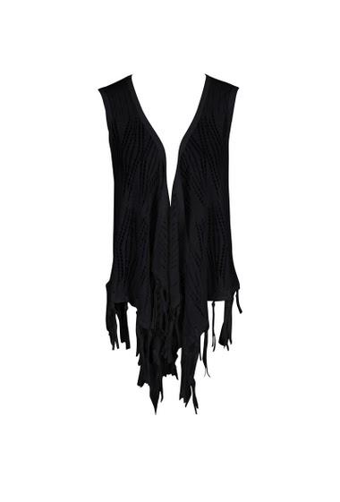 Openwork sleeveless waistcoat with fringes