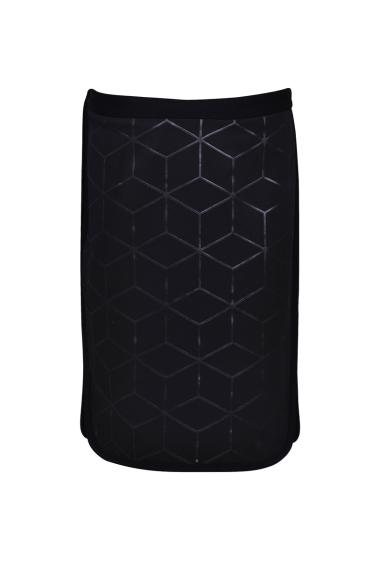 Straight skirt, zippered and buttoned closure, printed fabric, mini slits on the sides