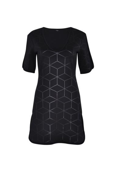 Printed dress with geometric pattern, short sleeves