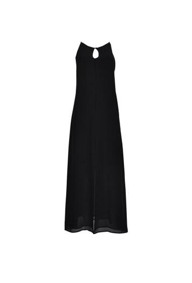 Robe longue à fines bretelles, détail au dos