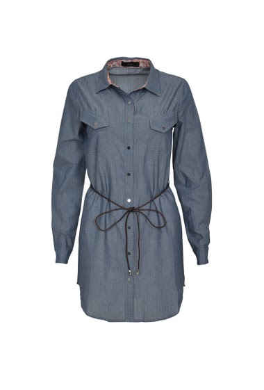 Long sleeve shirt dress with flap pockets on the front, braided belt.