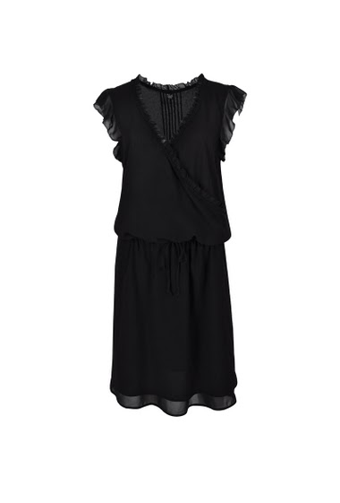 Wrap-around dress, butterfly sleeves, lace-trimmed neckline, belt at waist