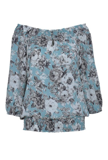 Flower printed top with elastic east-west collar, 3/4 sleeves, elastic waistband