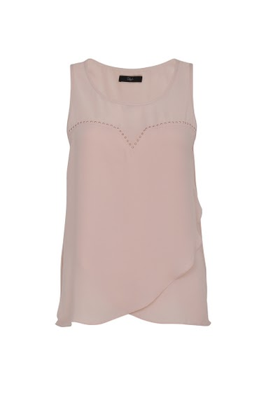 Sleeveless top with round neck, trimmed with stones at the top of the chest, Double asymmetric flywheel
