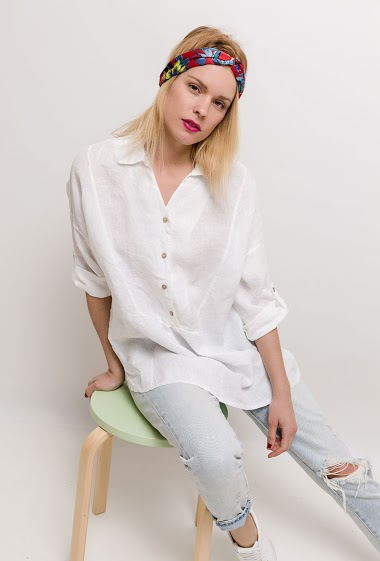 Long shirt, 3/4 sleeves. The model measures 177cm, one size corresponds to 10/12(UK) 38/40(FR). Length:79cm