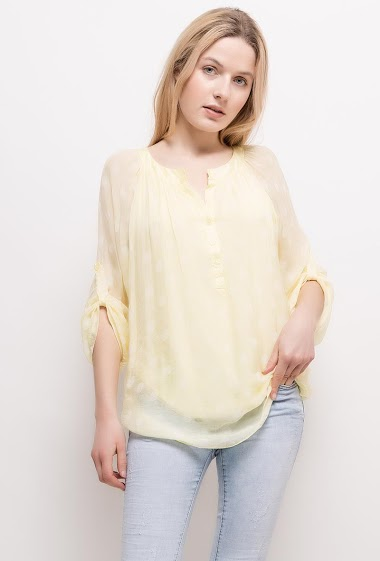 Spotted blouse, lining. The model measures 174cm, one size corresponds to 10/12(UK) 38/40(FR). Length:75cm