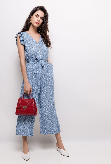Printed jumpsuit, ruffles. The model measures 176cm, one size corresponds to 10/12(UK) 38/40(FR). Length:130cm