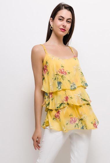 Frill tank top, printed flowers. The model measures 175cm, one size corresponds to 10/12(UK) 38/40(FR). Length:80cm