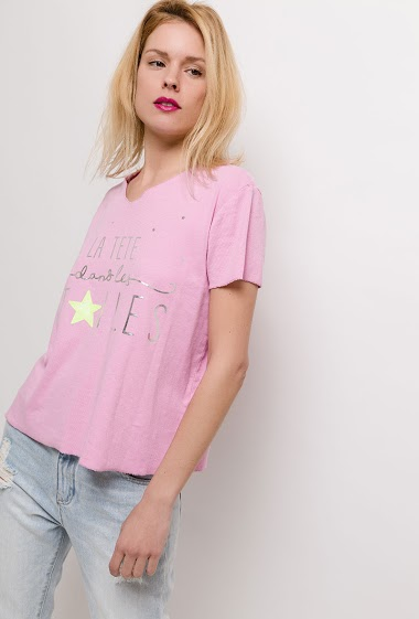 Short sleeve t-shirt. The model measures 177cm, one size corresponds to 10/12(UK) 38/40(FR). Length:62cm