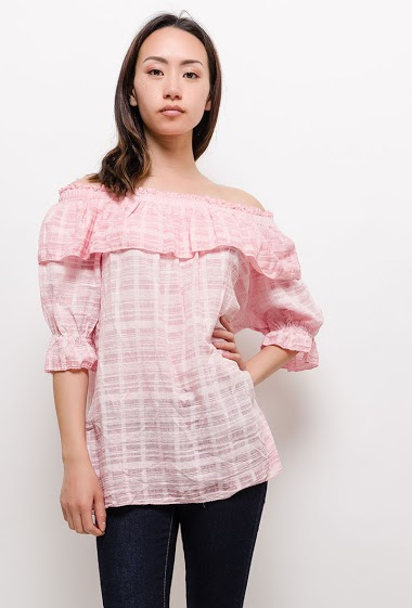 Off shoulder blouse. The model measures 170cm, one size corresponds to 10/12(UK) 38/40(FR). Length:70cm