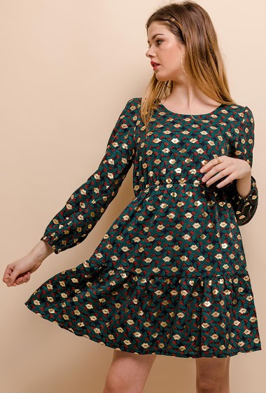 Dress with open back, printed lips. The model measures 171cm and wears S. Length:87cm
