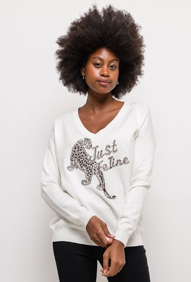 Sweatshirt JUST FELINE with sequins
