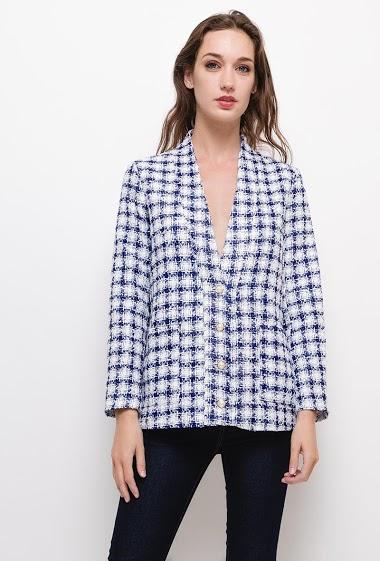 Veste en tweed ,Veste avec boutons perlés. La mannequin mesure 177cm et porte du S. Longueur:65cm