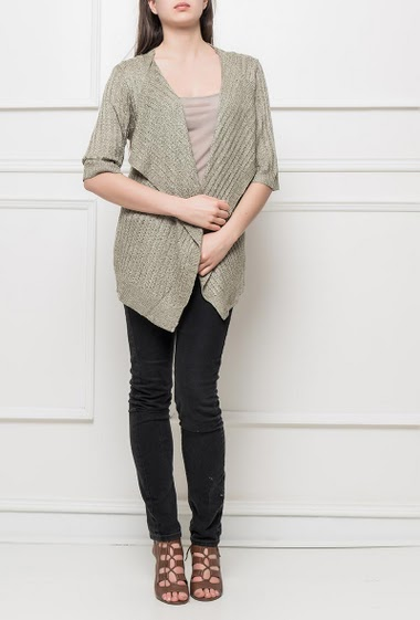 Knit cardigan, open front, waterfall collar, long fit