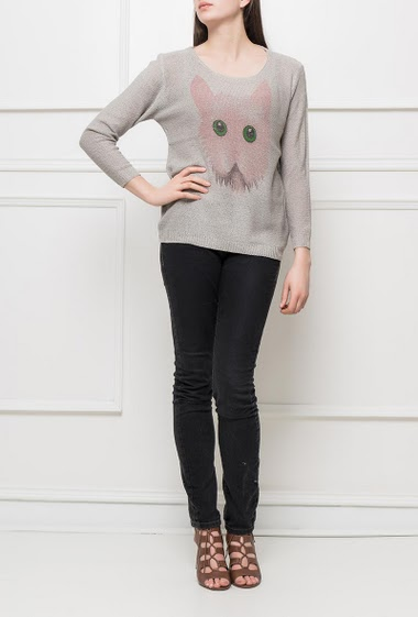 Casual sweater with printed cat, classic fit