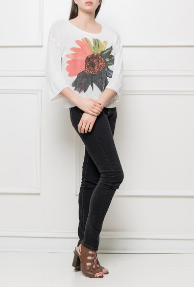 Knit sweater with printed flower, casual fit