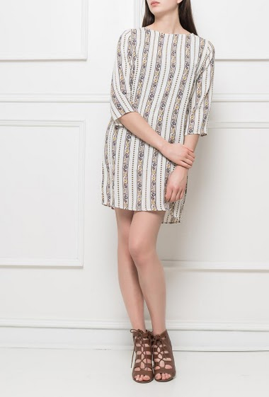 Dress with  fancy printed stripes, regular fit